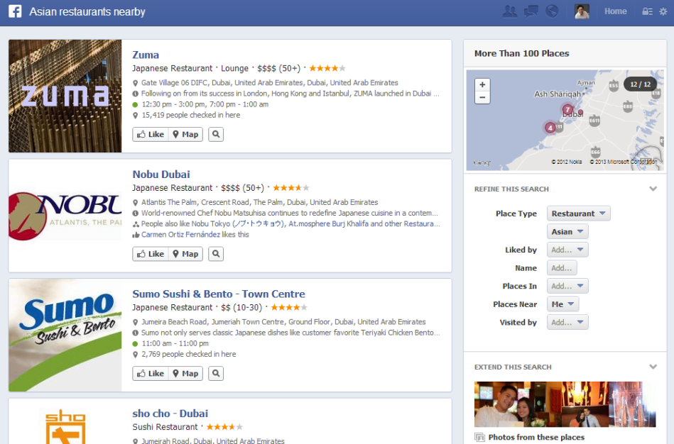Graph Search Restaurants Nearby