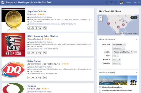 Graph Search Restaurants Star Trek Like