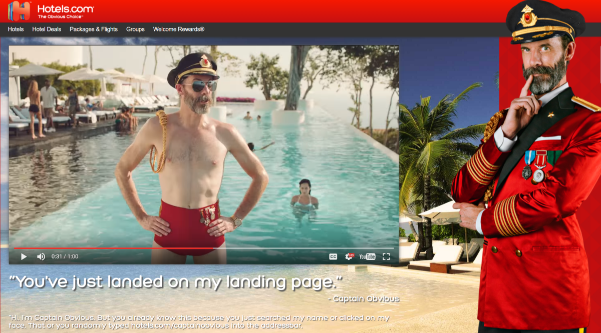 Cheeky but effective – Captain Obvious Steals the Show for Hotels.com